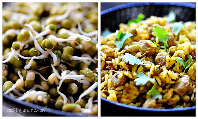 moong bean sprouts biryani recipe