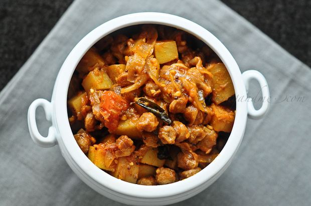 Soya chunks masala recipe with potatoes, step by step