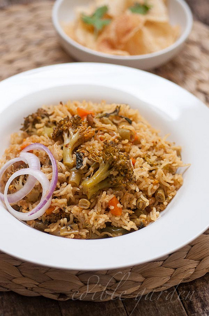 Easy Vegetable Biryani Recipe, Pressure Cooker-Rice Cooker Method