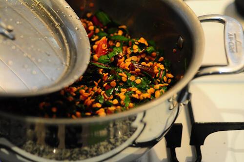 beetroot leaves dal-masoor dal recipe with beet leaves-12