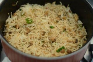 how to make indian mushroom fried rice recipe-7