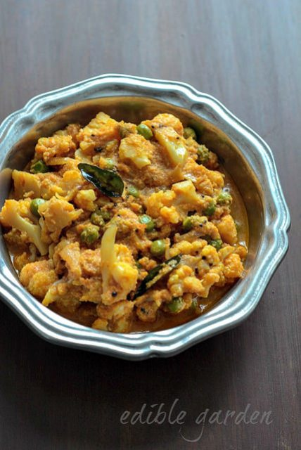 cauliflower green peas coconut curry recipe