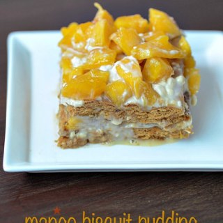 Eggless no bake mango biscuit pudding recipe