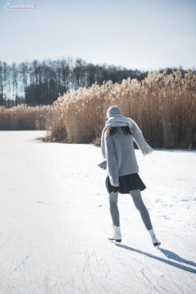 Eislaufen mit Winter Picknick
