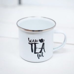 Emaille Tasse beaTEAful Teetasse