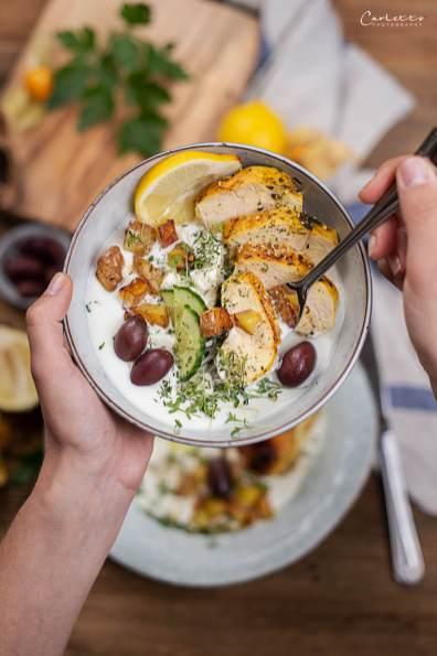 griechische Joghurt Grill Bowl