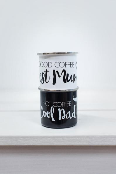 Emaille Tassen Set Mom Dad