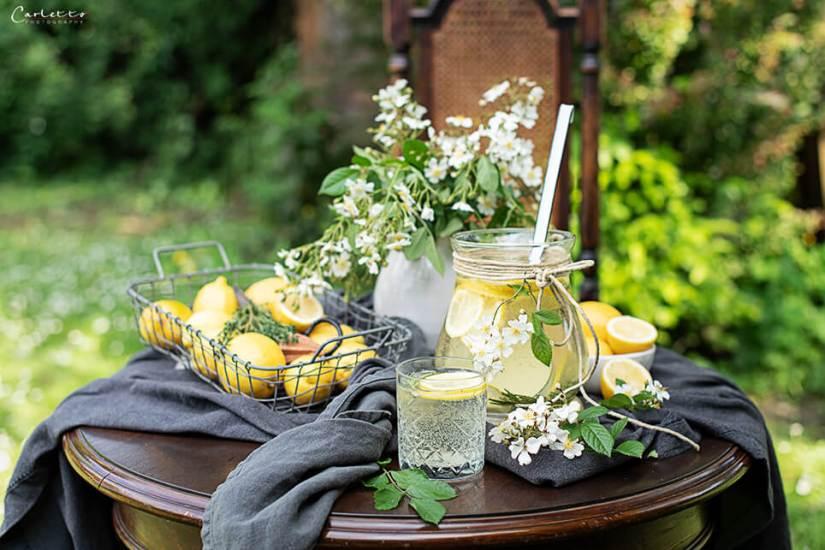 Gartenshooting Zitronen Bowle mit Rosmarin_7966