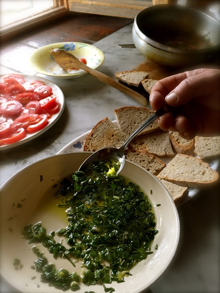 wild herbs and extra virgin olive oil