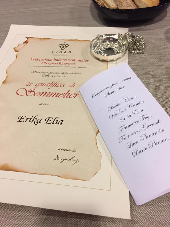 erika elia sommelier certificate