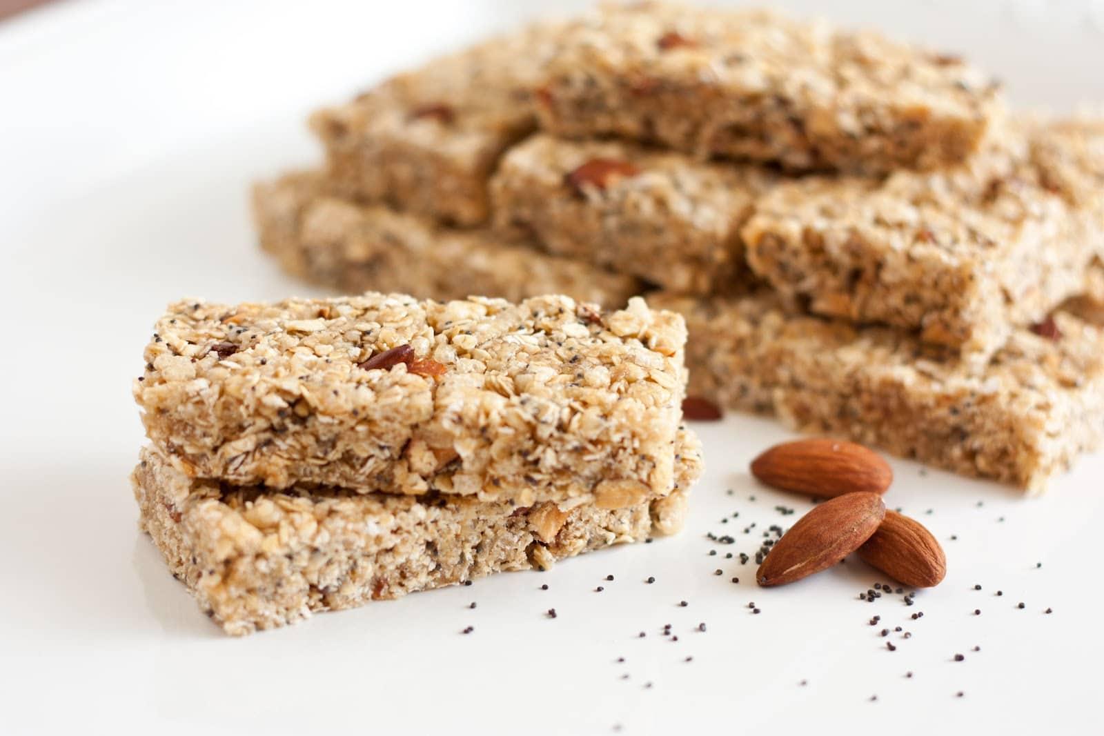 chewy almond poppy seed granola bars lemon variation too