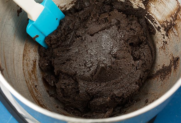 Oreo truffle filling mixture in a mixing bowl.