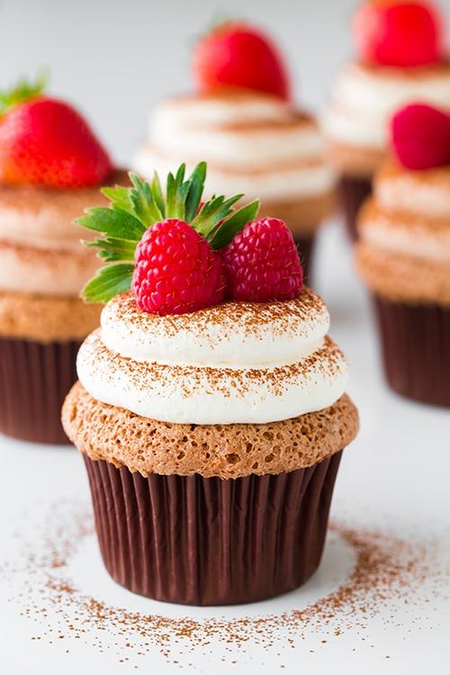 Chocolate Angel Food Cupcakes With Chocolate Cream Cheese