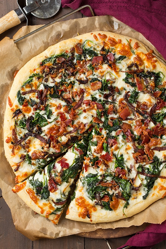 White Pizza With Spinach And Caramelised Onions