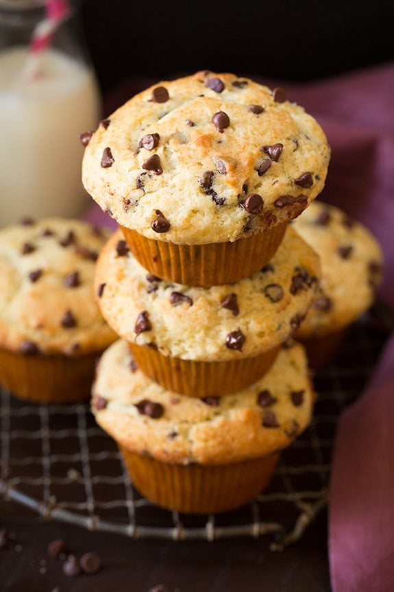 Bakery Style Chocolate Chip Muffins   Cooking Classy