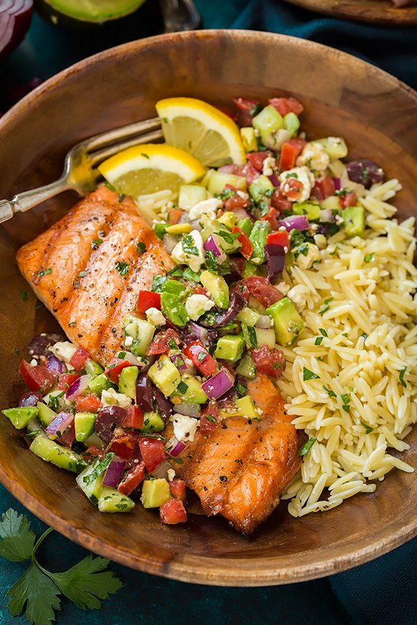 Grilled Salmon with Avocado Greek Salsa and Orzo - Cooking