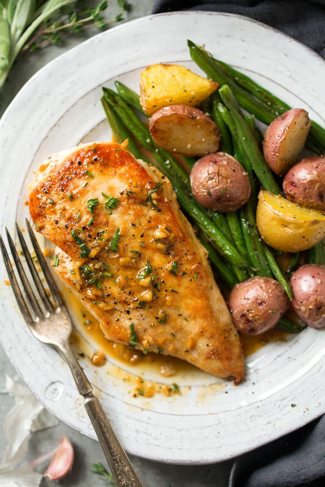 Skillet Chicken Recipe With Garlic Herb Butter Sauce