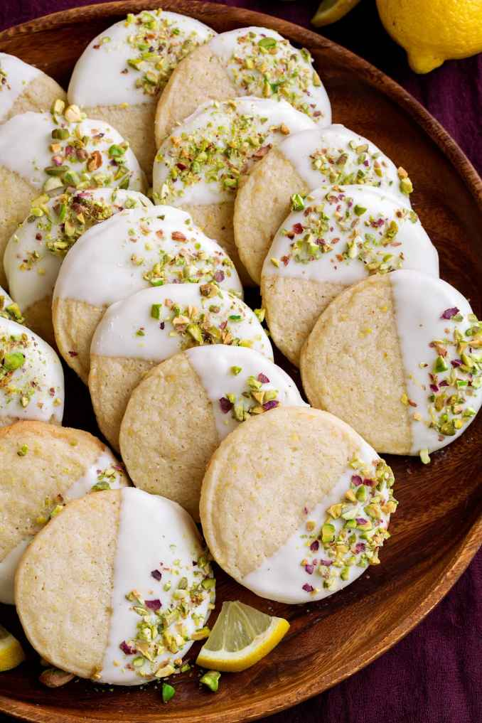 Lemon Shortbread Cookies (Dipped in White Chocolate