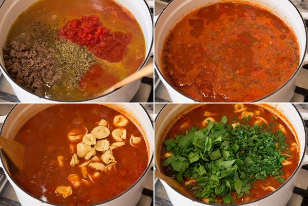 Collage of four images depicting the mixing of liquid ingredients for the soup, cooking, adding tortellini and spinach.