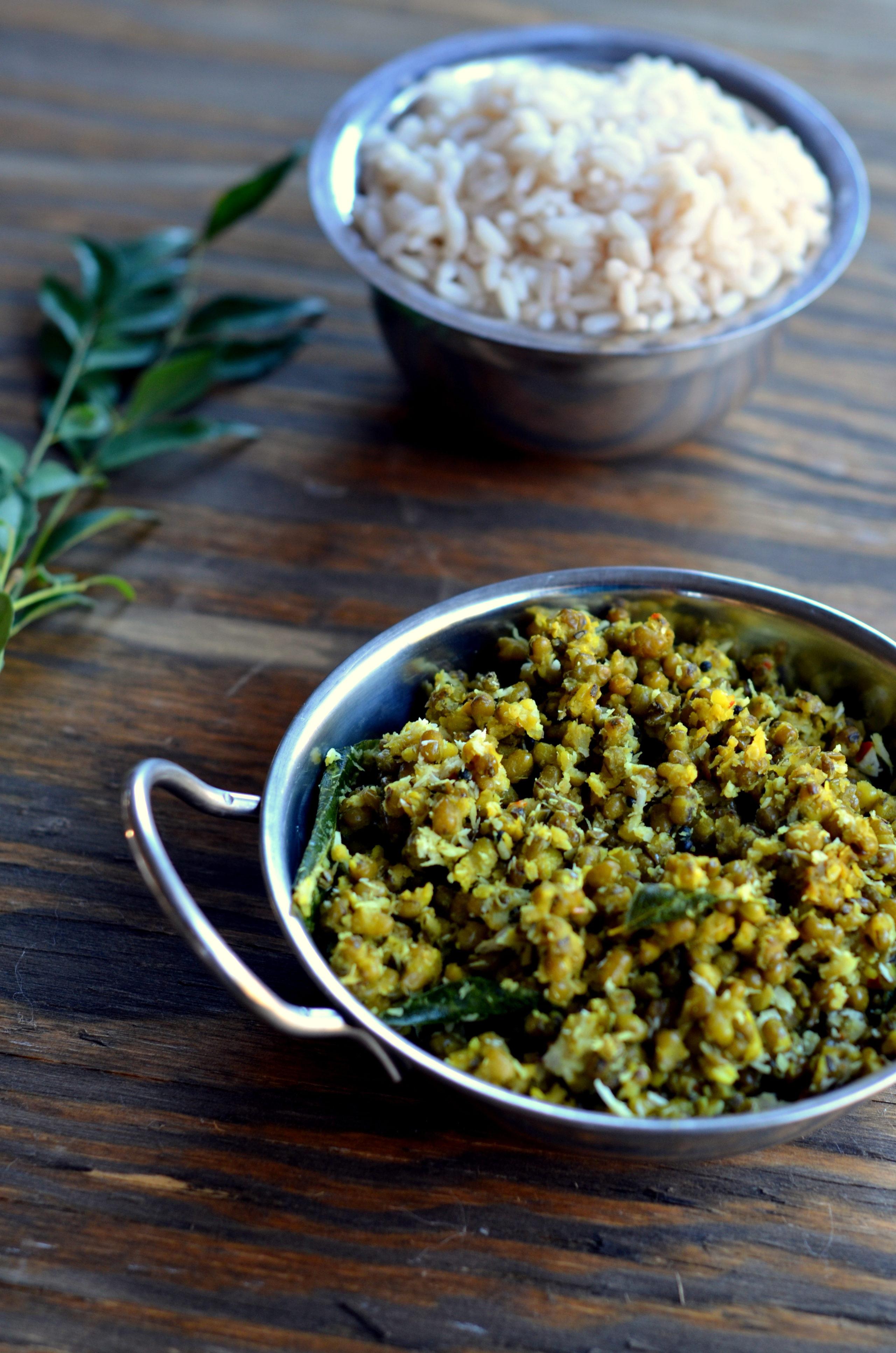 Cherupayar Thoran ~ Green Mung Saute with Coconut - Cooking