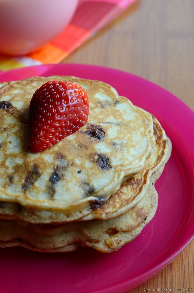Chocolate Chip Almond Pancakes for valentine's Day - Cooking Curries (2)