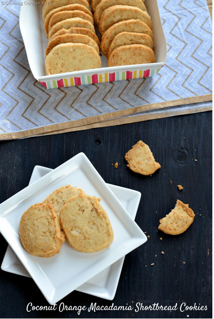 Coconut Orange Macadamia Shortbread Cookies - Mirch Masala