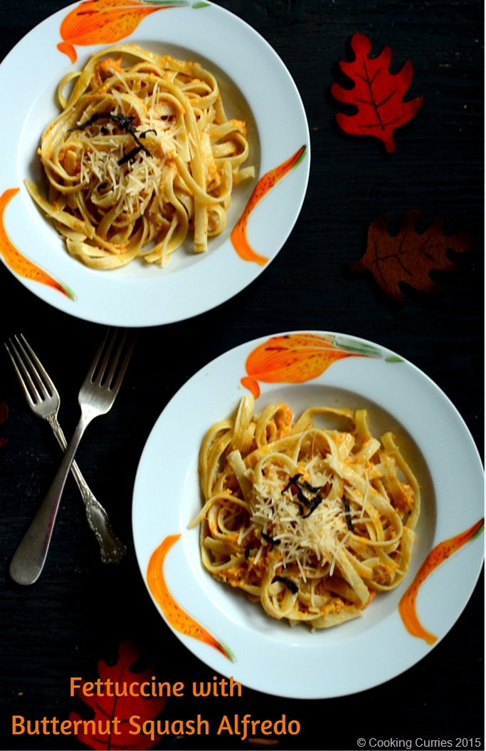 Fettucine with Butternut Squash Alfredo - Fall Recipe, Thanksgiving Recipe, Vegetarian, Pasta Recipe - Cooking Curries