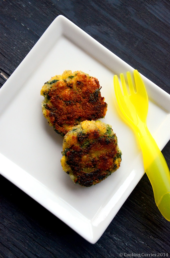 Spinach, Rice and Corn Patties - Mirch Masala - Toddler Food Recipe