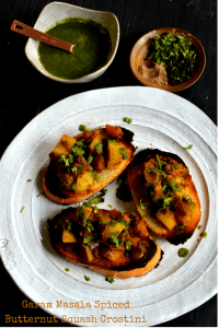 Garam Masala Butternut Squash Crostini with Cilantro-Sage Chutney–A Guest Post for Rang-Decor