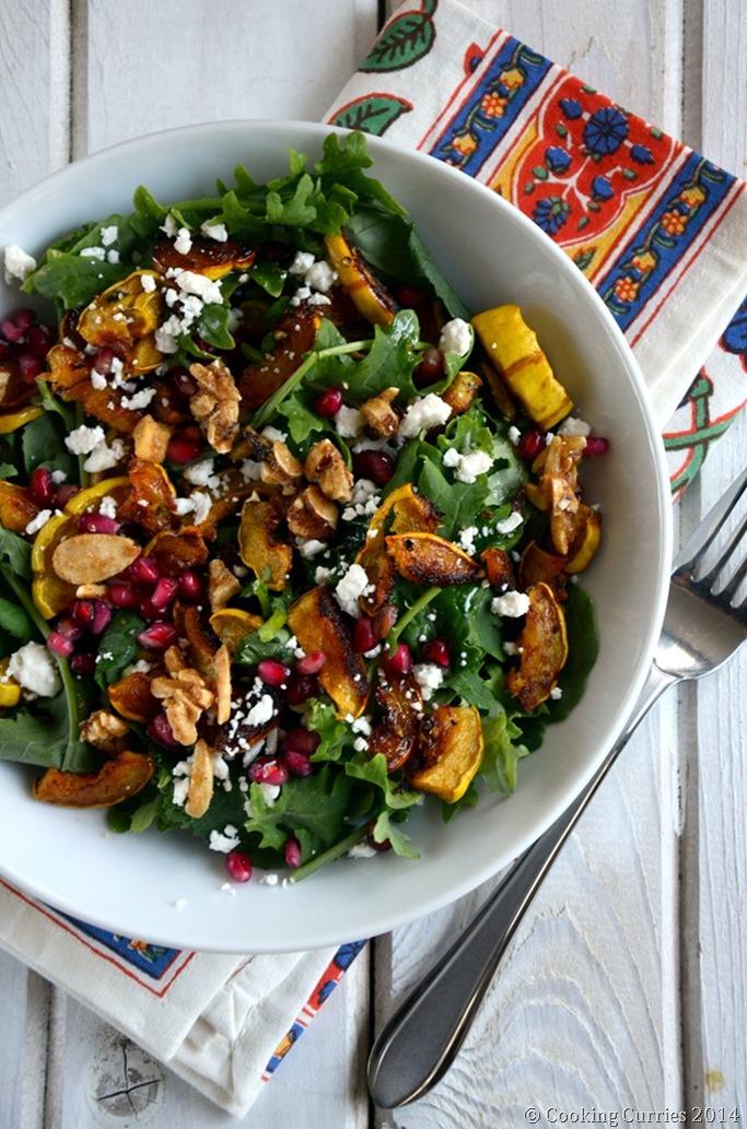 Roasted Squash and Kale Salad - Fall Thanksgiving Salad Recipe - Mirch Masala (3)