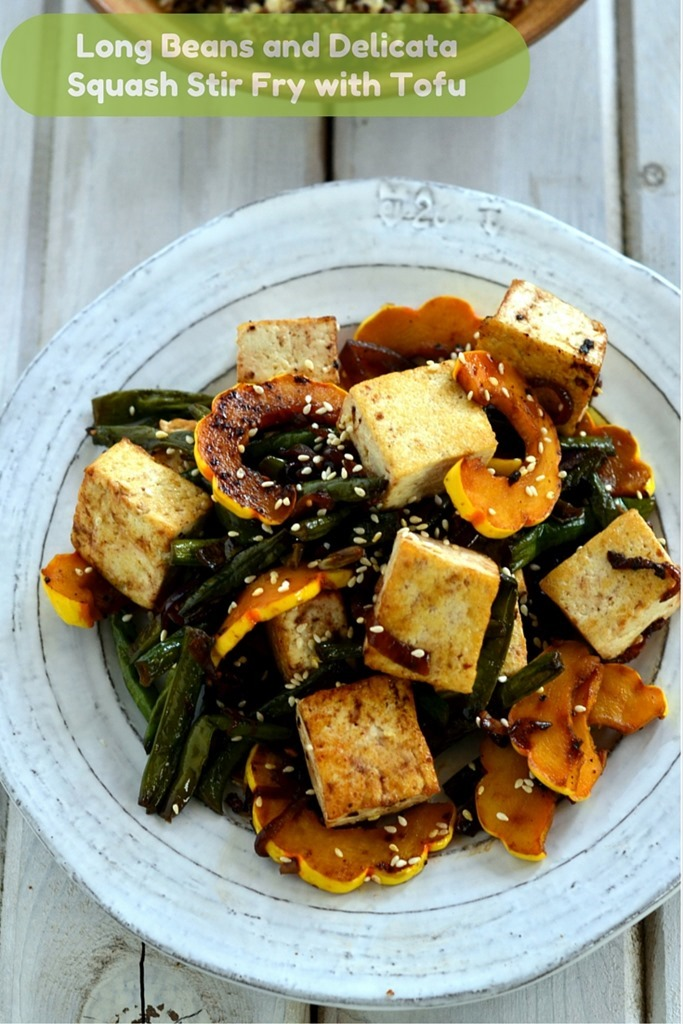 Long Beans and Delicata Squash Stir Fry with Tofu - Vegetarian Vegan Gluten Free Stir Fry Recipe - Cooking Curries