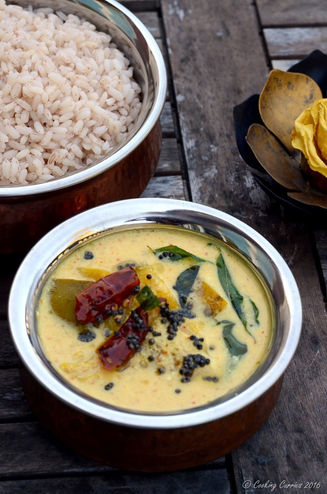 Mambazha Pulisseri - Mambazha Pulissery - Ripe Mangoes in a Lightly Spiced Coconut Yogurt Sauce - Gluten Free, Vegan, Vegetarian, Indian Food - Cooking Curries (2)
