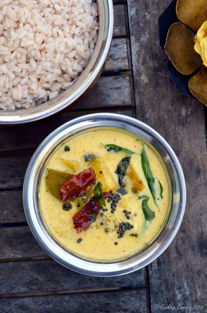 Mambazha Pulisseri - Mambazha Pulissery - Ripe Mangoes in a Lightly Spiced Coconut Yogurt Sauce - Gluten Free, Vegan, Vegetarian, Indian Food - Cooking Curries