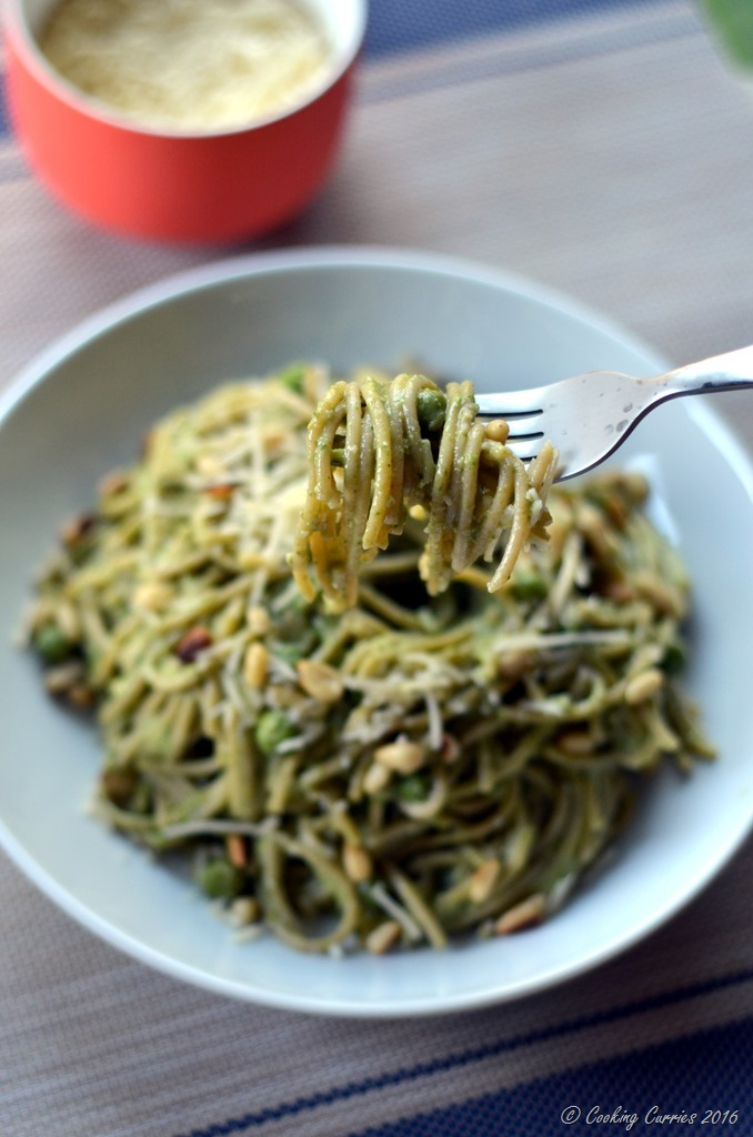 Spring Spaghetti with Spinach Pea Pesto - Vegetatian and Gluten Free - www.cookingcurries.com (2)
