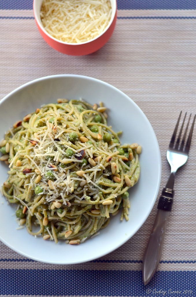 Spring Spaghetti with Spinach Pea Pesto - Vegetatian and Gluten Free - www.cookingcurries.com (3)