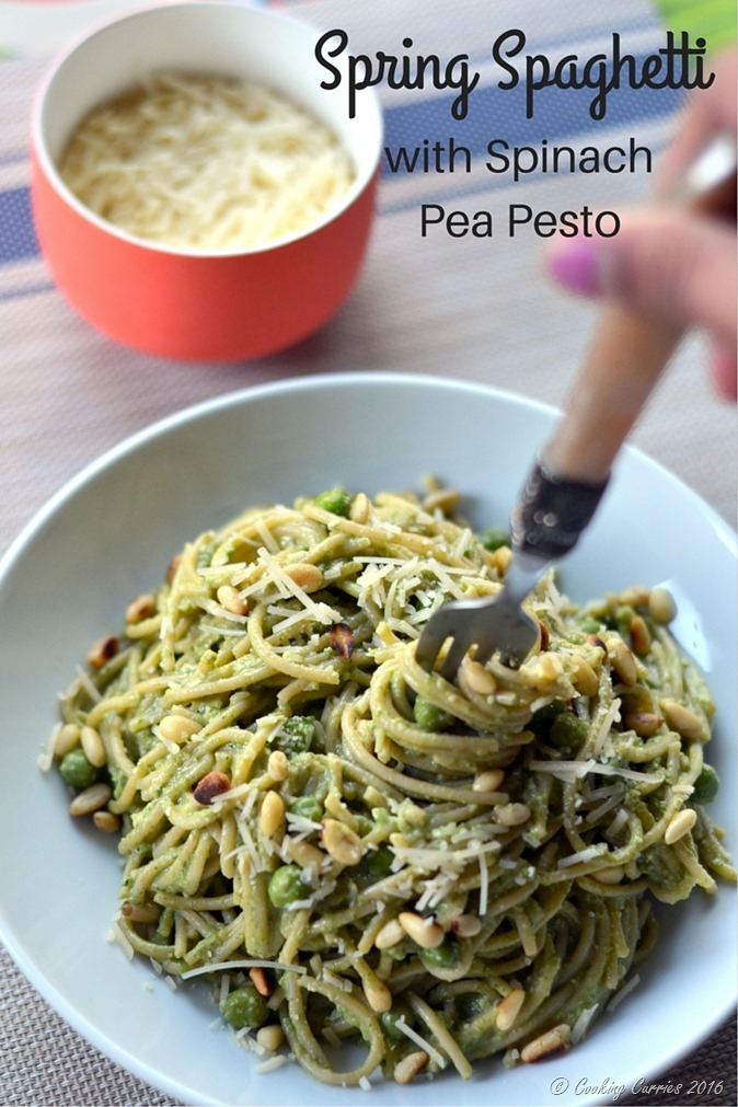 Spring Spaghetti with Spinach pea Pesto - Gluten Free, Vegetarian - www.cookingcurries.com