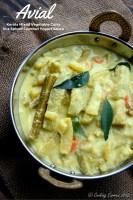 Avial ~ Kerala Mixed Vegetable Curry with Coconut and Yogurt. Vegetarian. Kerala Sadya Recipe for Vishu / Onam Sadyas (Feast) www.cookingcurries.com