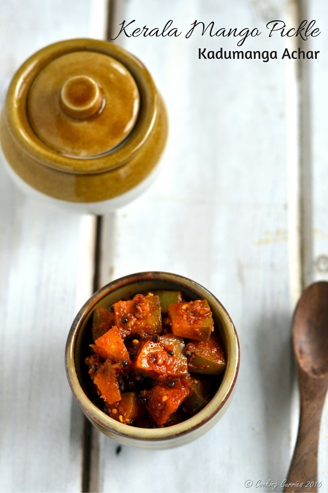 Instant Kerala Mango Pickle - Kadumanga Achar - Mangai Curry - A Kerala Sadya Recipe - www.cookingcurries.com