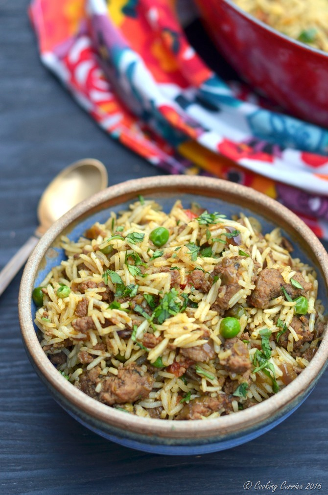 Keema Biryani - Biryani with Grount Lamb and Peas - www.cookingcurries.com (5)