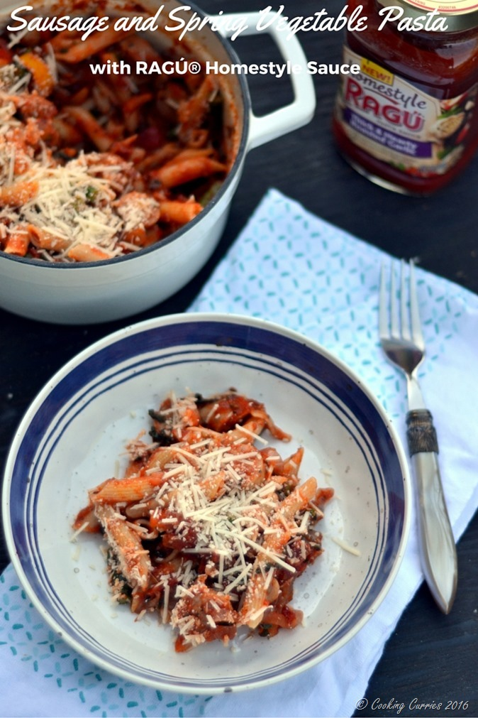 Sausage and Spring Vegetable Pasta with Ragu Homestyle Sauce -www.cookingcurries.com
