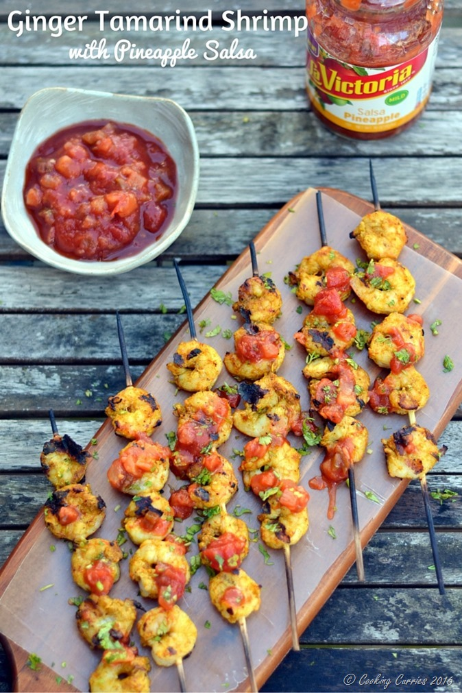 Ginger Tamarind Shrimp with Pineapple Salsa - www.cookingcurries.com
