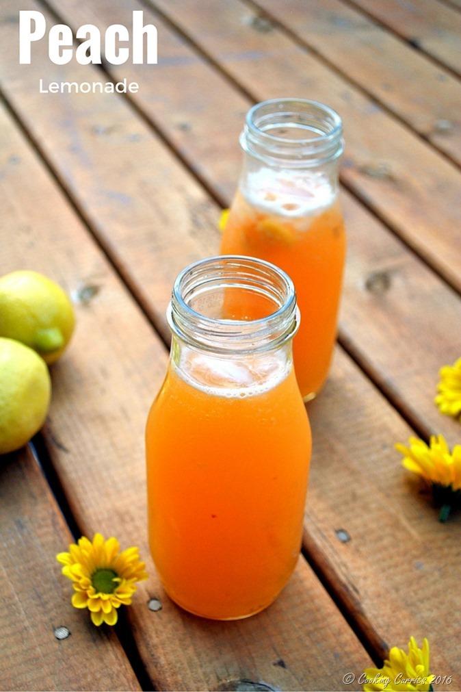 Peach Lemonade - a summer cooler. www.cookingcurries.com