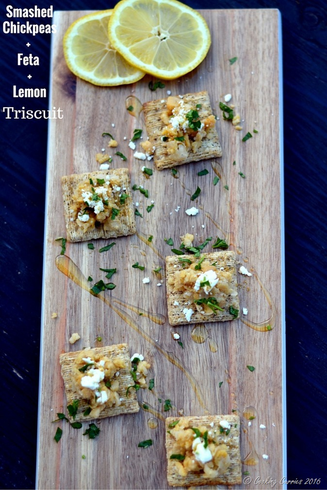 Smashed Chickpeas, Feta and Lemon Triscuit - www.cookingcurries.com