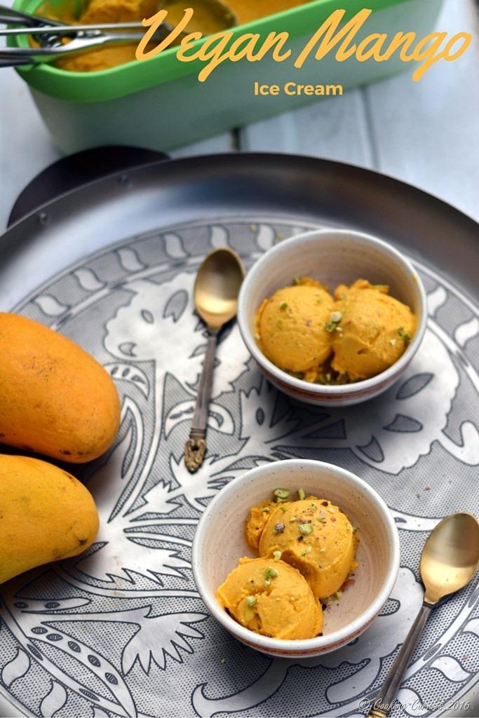 Vegan Mango Ice Cream with Pisachios - No Added Sugar - www.cookingcurries.com