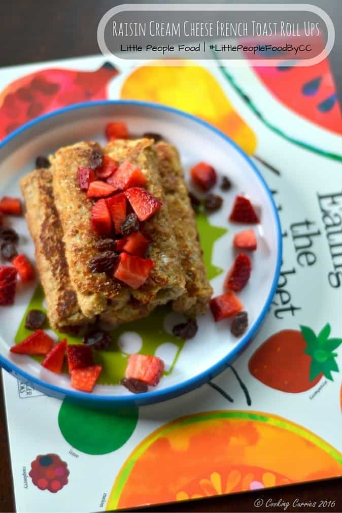 Raisin Cream CheeseFrench Toast Roll Ups - Toddler Food, Kid Friendly Food, Little People Food - Breakfast, Brunch