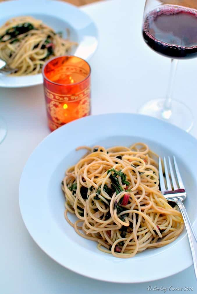 Spaghetti with Red Chard and Pearl Onions - Vegan, Can be Made Gluten Free - www.cookingcurries.com (5)