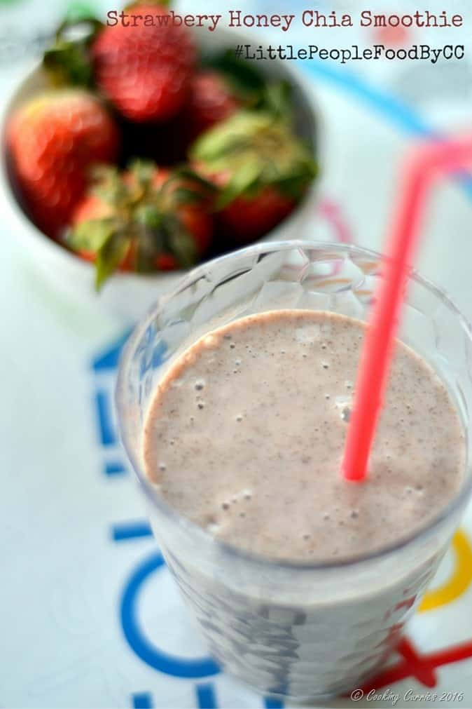 Strawbery Honey Chia Smoothie - Little People Food - Cooking Curries
