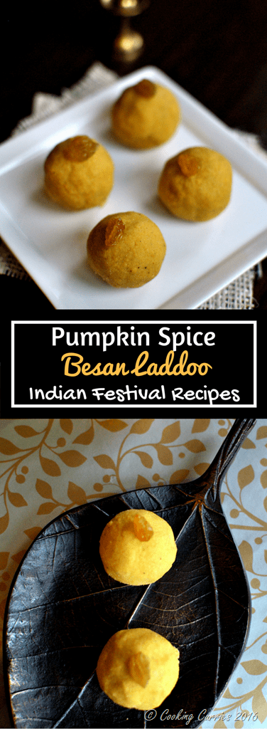 Besan Laddoo with Pumpkin Spice - Diwali Recipes - www.cookingcurries.com