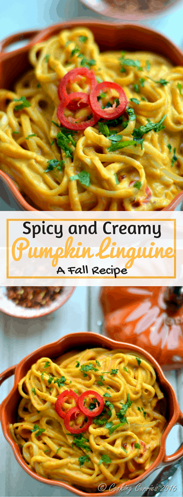 Spicy and Creamy Pumpkin Linguine - A Fall Recipe - www.cookingcurries.com