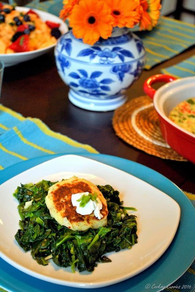 Mashed Potato Pancakes over Garlic Sauteed Greens - a Thanksgiving Leftover Recipe (2)